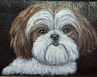Shih Tzu Dog Custom Painted Leather Checkbook Cover Checkbook holder