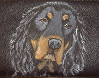Gordon Setter Dog Custom Painted Leather Checkbook Cover checkbook holder