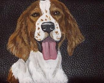 Welsh Springer Spaniel Dog Custom Painted Leather Men wallet