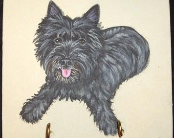Cairn Terrier Dog Custom Painted Key Leash Rack Home decor Wall decor