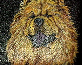 Chow Chow Dog Custom Painted Leather Men's wallet