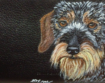 Wirehaired Dachshund Dog Custom Hand Painted Leather Checkbook Cover Checkbook Holder