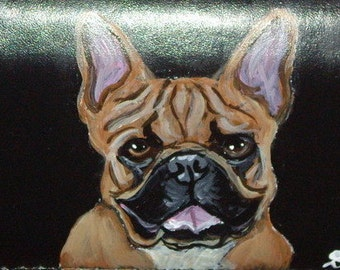 French Bulldog Custom Painted Leather Checkbook Cover
