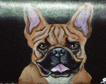 French Bulldog Custom Painted Leather deluxe Checkbook Cover Checkbook Holder