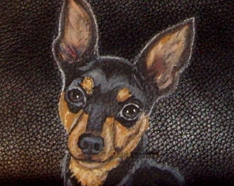 Miniature Pinscher Dog Custom Painted Leather Men's Wallet