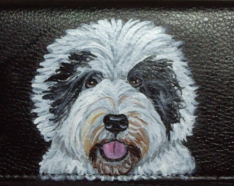 Old English Sheepdog Custom Painted Leather Checkbook Cover