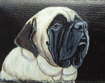Mastiff  Dog Custom hand Painted Leather Men's wallet Gifts for Men