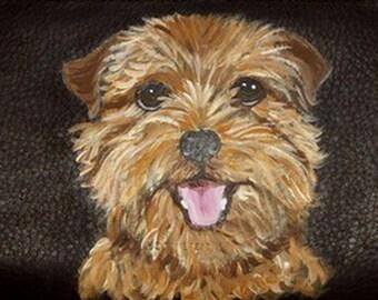 Norfolk Terrier Dog Custom Painted Leather Men's Wallet Gift for men