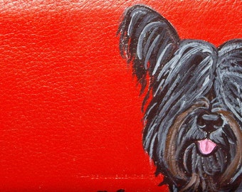 Skye Terrier Dog Custom Painted Leather Checkbook Cover