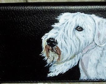 Sealyham Terrier Dog Custom Hand Painted Leather Checkbook Cover Checkbook Holder