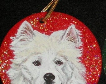 Samoyed Dog Custom hand Painted Christmas Ornament Christmas decoration
