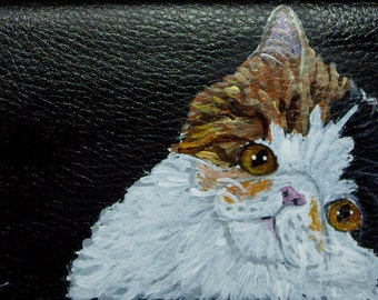 Exotic Shorthair Cat Custom hand Painted Leather Wallet for women