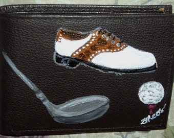 Golf Lover hand Painted Men's Leather Wallet