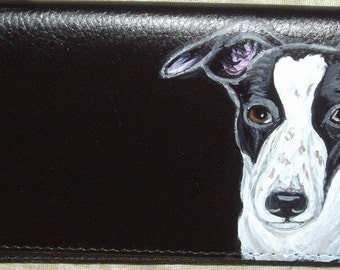 Greyhound Dog Custom Painted Deluxe Leather Checkbook Cover