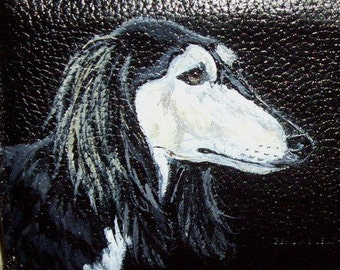 Saluki Dog Custom Hand Painted Leather Men's Wallet