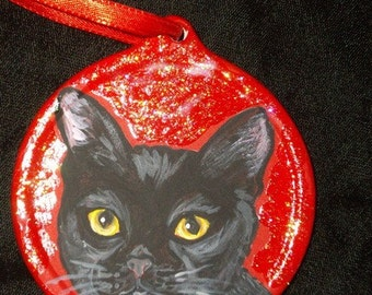 Bombay Black Cat Custom Painted Christmas Ornament Christmas cecoration