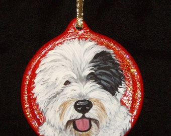 Old English Sheepdog Custom hand Painted Christmas Ornament Christmas decoration