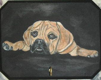 Puggle Dog Custom Hand Painted Key Holder Leash Rack Plaque Home decor