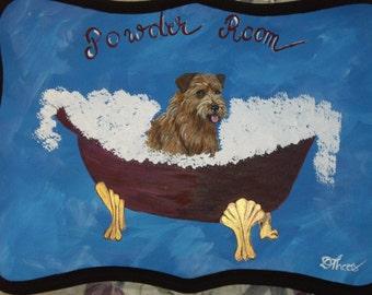 Norfolk Terrier Dog Custom hand Painted Powder Room Sign  Plaque Home decor