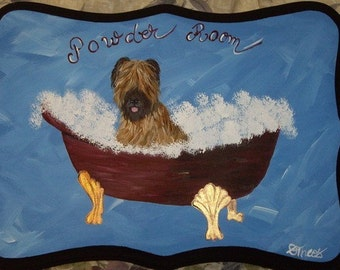 Briard Dog Custom Painted Powder Room Sign Plaque