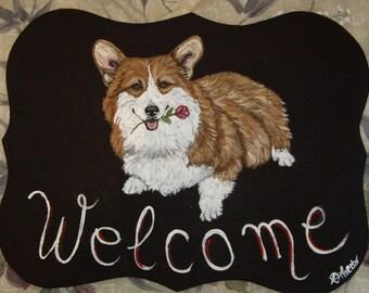 Welsh Corgi Dog Custom Painted Welcome Sign Plaque