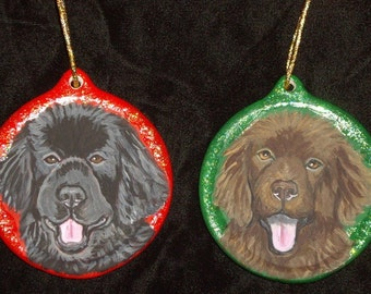 Newfoundland Dog Custom Painted Christmas Ornament Decoration