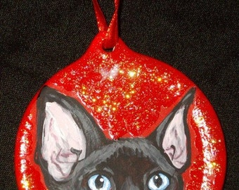 Devon Rex Cat Custom Hand Painted Christmas Ornament Christmas Decoration