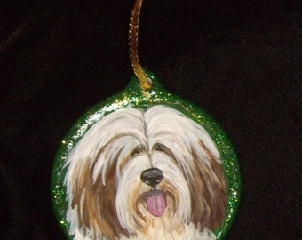 Tibetan Terrier Dog Custom Hand Painted Christmas Ornament Decoration