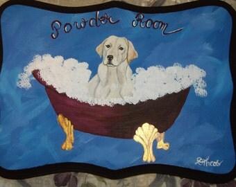 Yellow Labrador Retriever Custom hand Painted Powder Room Sign Plaque Home Decor