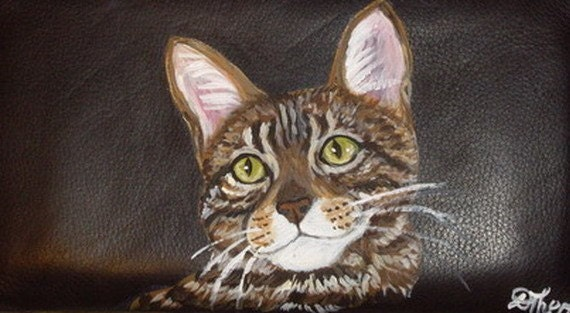Bengal Cat Custom Painted Leather Checkbook Cover Checkbook holder