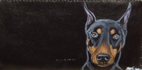 Doberman Pinscher Dog Custom hand Painted Leather Checkbook Cover checkbook Holder