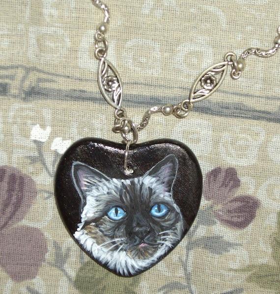 Birman Cat Chain Necklace  Hand Painted Ceramic Pendant Jewelry
