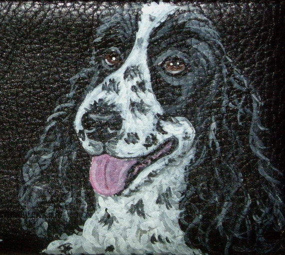 Cocker Spaniel Dog Custom Painted Leather Men's Wallet