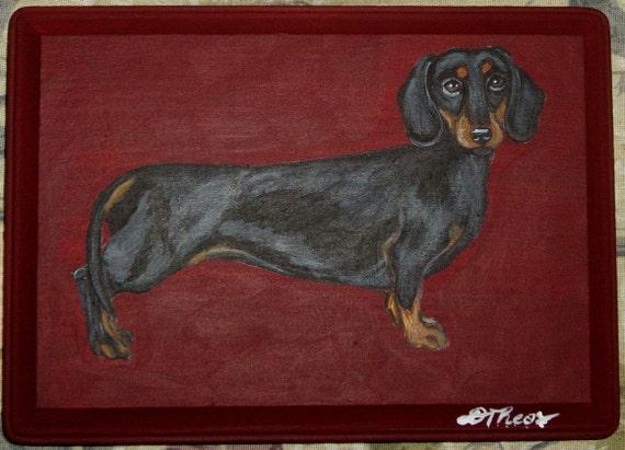 Dachshund Dog Custom Painted Key Leash Rack Plaque