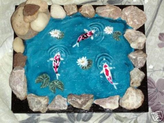 Koi Fish Pond Hand Painted Rock Art Figurine Paper Weight