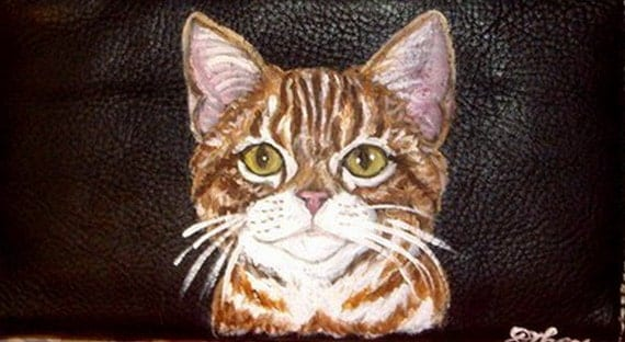 Ginger Red Tabby Cat Custom Painted Leather Checkbook Cover