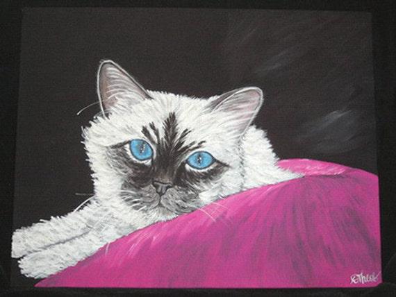 Birman Cat Canvas Painting 11 x 14 FINAL SALE