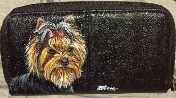 Yorkshire Terrier Yorkie Dog Painted Leather Women's Wallet OOAK