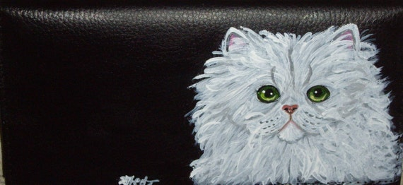 White Persian Cat Custom Painted Leather deluxe Checkbook Cover