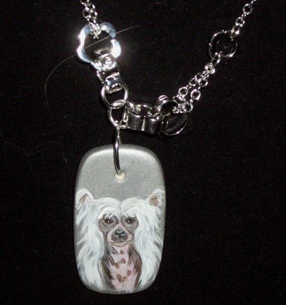 Chinese Crested Dog Necklace Painted Pendant OOAK
