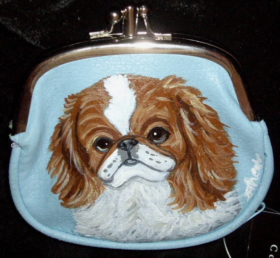Japanese Chin Dog Painted Coin Purse Blue