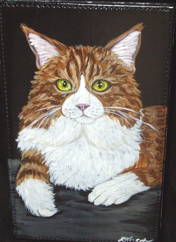 Maine Coon Cat Orange tabby Original Painting OOAK