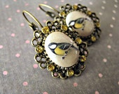 Sweet Bird Earrings -  Cream and Gold Glitter Edition