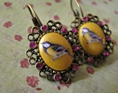 Sweet Bird Earrings -  Gold and Pink Glitter Edition