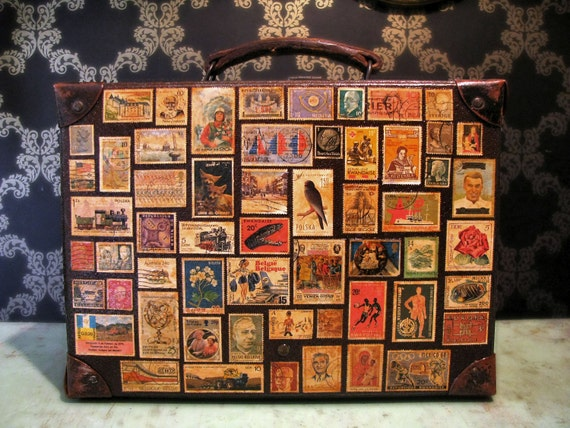 Around the World in 80 Stamps Vintage Travel Luggage Suitcase