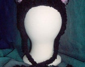 Soft and Sparkly Black Cat Hat with Pink Ears, Meow