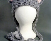 Cosplay Fuzzy and Soft Gray Cat Hat with Pink Ears, Meow