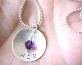 abba - Custom Hand Stamped Sterling Silver Hebrew Necklace with swarovski crystal