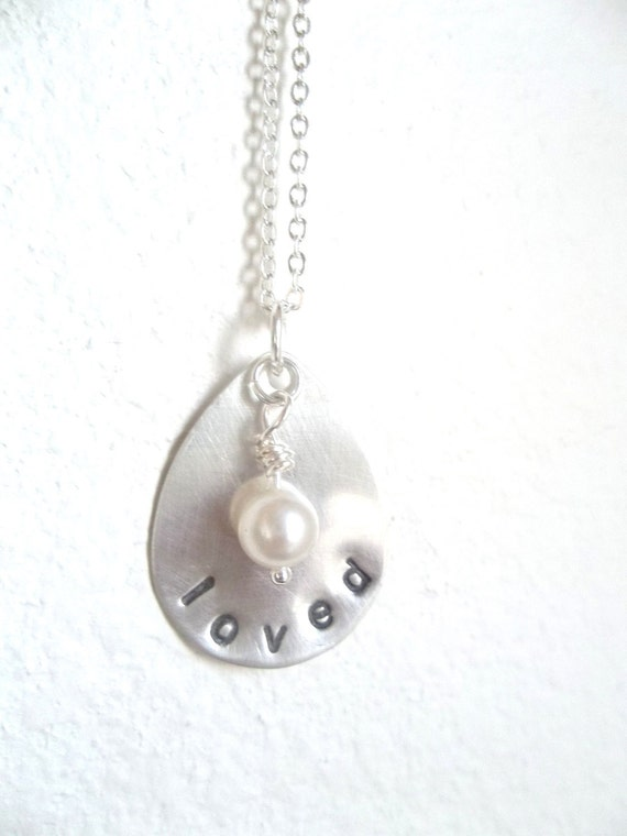 Personalized Hand Stamped Teardrop Sterling Silver Necklace with vintage pearl