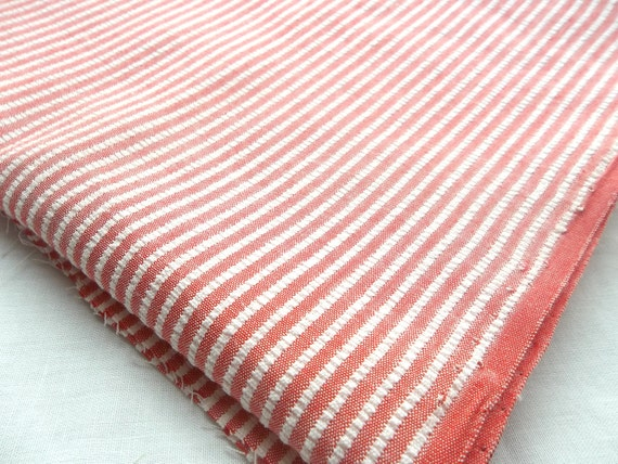 Vintage Seersucker - Red and White Ticking